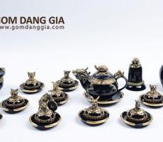 Bộ trà Bát Tràng họa tiết 12 con giáp bọc đồng đẹp