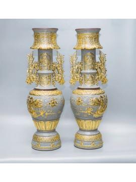 Bộ chân đèn thờ men rạn cổ, đắp nổi dát vàng
