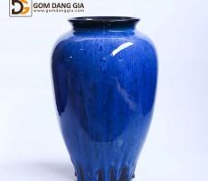 Bình hoa Bát Tràng men hỏa biến xanh, dáng vò miệng vuốt S18