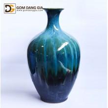 Bình hoa Bát Tràng men hỏa biến xanh dáng bảo bình S21