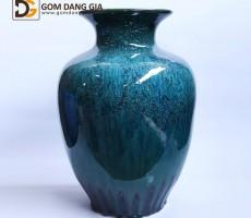 Bình hoa Bát Tràng men hỏa biến xanh S10