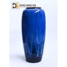 Bình hoa Bát Tràng men hỏa biến xanh, dáng vò cao S11