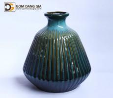 Bình hoa Bát Tràng men hỏa biến xanh, dáng rọ S13