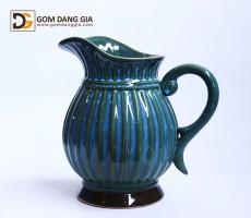 Bình hoa Bát Tràng men hỏa biến xanh có tay cầm S16