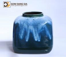 Bình hoa Bát Tràng men hỏa biến xanh S22