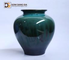Bình hoa Bát Tràng men hỏa biến xanh S3