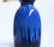 Bình hoa Bát Tràng men hỏa biến xanh S7