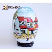 Đèn xông tinh dầu Bát Tràng, trứng vẽ cảnh phố cổ S21