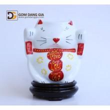 Đèn xông tinh dầu Bát Tràng, mèo tài lộc vẽ phúc lộc thọ