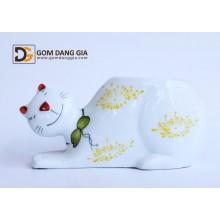 Đèn xông tinh dầu Bát Tràng, con mèo vẽ hoa  S29
