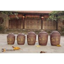 Hũ gạo gốm Bát Tràng hàng cao cấp, hoa văn chữ tài lộc.