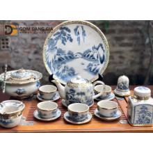 Bộ trà Bát Tràng men rạn giả cổ bọc đồng dáng bưởi quai sứ, chọn bộ